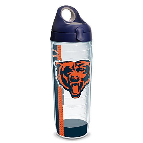 (Tervis 1231102 NFL Chicago Bears Stripe Tumbler with Wrap and Navy with Gray Lid 24oz Water Bottle, Clear )