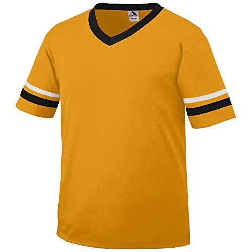 Yellow Black Stripe Shirt (Augusta Sportswear Sleeve Stripe Jersey, Medium, Gold/Black/White)