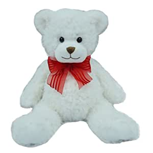 First & Main Sitting Position Stuffed White Bear Valentine's Plush, 8""