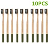 Bamboo Toothbrush Eco Friendly Biodegradable BPA Free Zero Medium Charcoal Bristles Natural Product size 10PCS