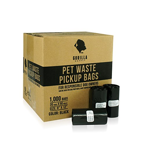 Gorilla Supply 1000 Black Dog Pet Poop Bags, EPI Technology, 50 Refill Rolls (Pet Poop)