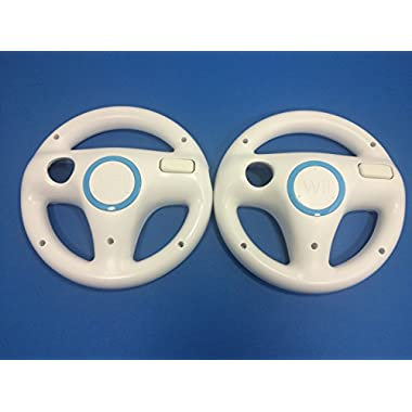 Mario Kart Racing Wheel for Nintendo Wii, 2 Sets White Color  Bundle