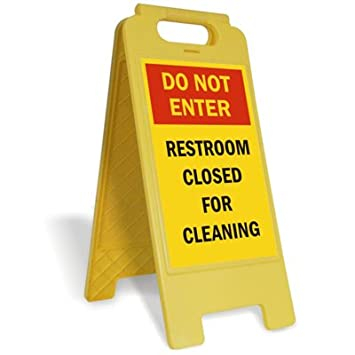 Do Not Enter  Restroom Closed For Cleaning Plastic Folding Sign  12 quot. Amazon com  Do Not Enter  Restroom Closed For Cleaning Plastic