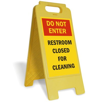Do Not Enter, Restroom Closed For Cleaning Plastic Folding Sign, 12