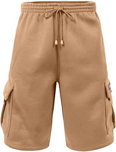 J. LOVNY Men's Comfy Fit Summer Drawstring Fleece Cargo SweatShorts M-5XL