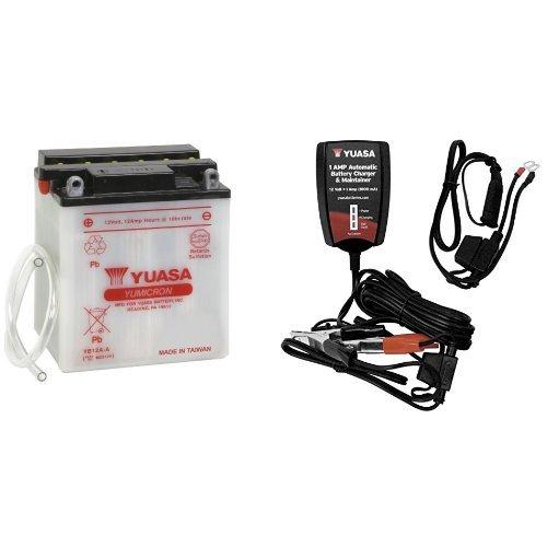 Yuasa YUAM2212Y YB12A-A Battery and Automatic Charger Bundle 12 Amp Automatic Battery Charger