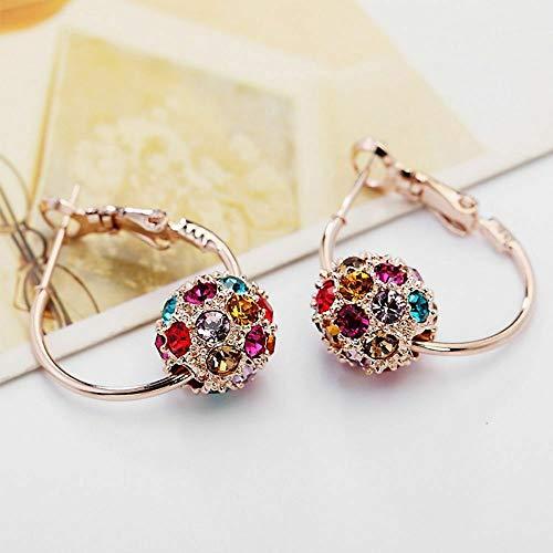 - Fashion Ball Woman Crystal Ball Earrings Colorful Hoop Earrings Stud Earrings