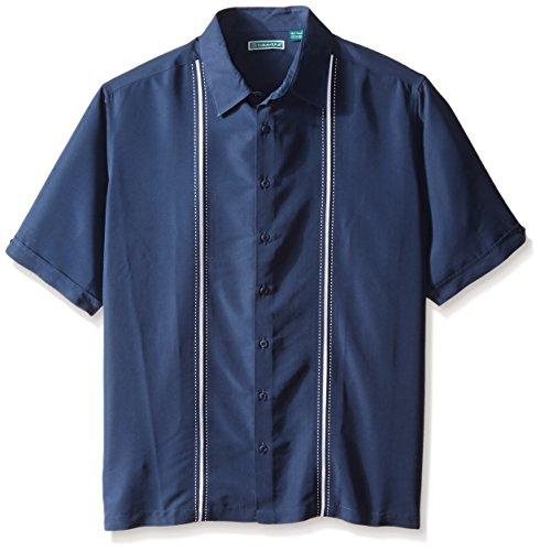 (Cubavera Men's Big-Tall Contrast Insert and Stitching Short Sleeve Woven Shirt, Dress Blues, 4X)