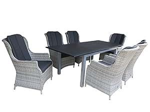 """'7Juego de lujo aluminio Polirratán Muebles de Jardín Grupo """"sullana"""", 6Luxus Dining Sillón """"bathalaa Ash Grey"""" y un mesa extensible """"Detroit 150/210x 90Plata"""