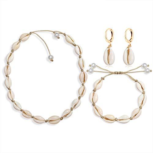 YINL Shell Choker Necklace - Natural Seashell Beads Handmade Cowrie Collar Chokers Summer Beach Shell Necklaces Bracelet Earrings 3 pcs Jewelry Sets for Women Girls (Earrings +Bracelet +chokers)