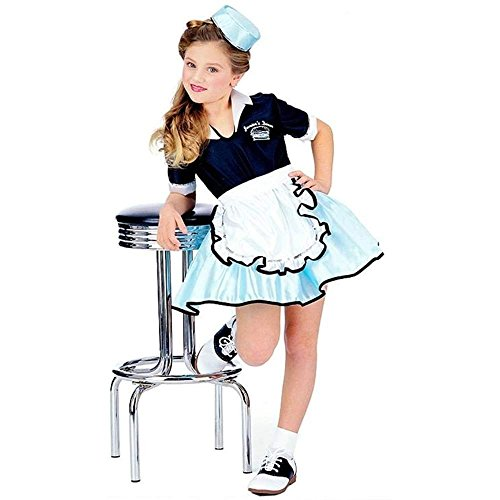 [50's Favorites Costume Child's Car Hop Girl, Medium] (Diner Waitress Costumes)