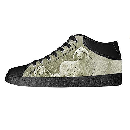 Custom Reticolo delle pecore Mens Canvas shoes I lacci delle scarpe in Alto sopra le scarpe da ginnastica di scarpe scarpe di Tela.