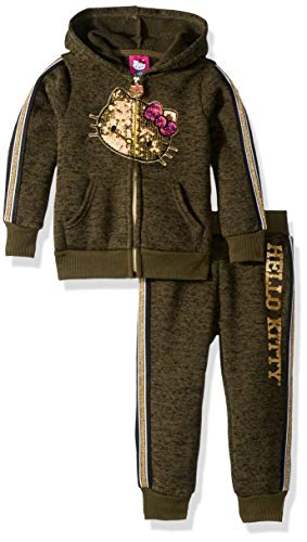 Hello Kitty Toddler Girls 2 Piece Hooded Fleece Active Set, Olive, 4T (Kitty Hello Toddlers)