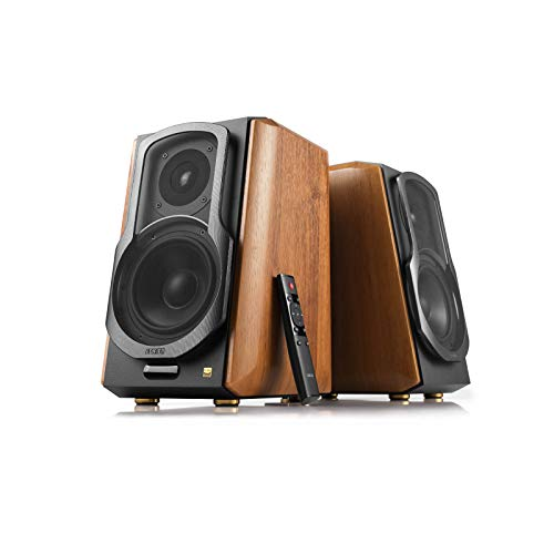Edifier S1000MKII Audiophile Active Bookshelf 2.0 Speakers – 120w Speakers Bluetooth 5.0 with aptX HD – Optical Input – Powered Near-Field Monitor Speaker with Class D Amp