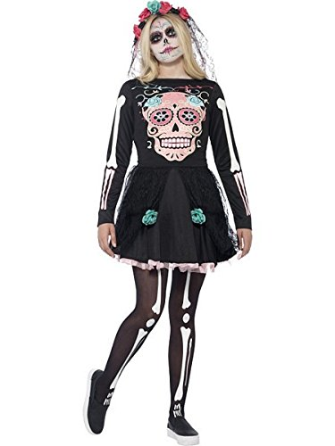 Smiffys Teen Girls' Sugar Skull Sweetie Costume, Dress and Headpiece, Halloween, Size XS, Ages 14+, -
