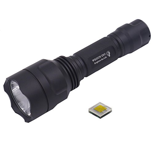 WKDUN INC C8 CREE XP-L HI V2 6500K 1 Mode 1600 Lumen 12x7135 LED Driver Circuit Board 4.2A High Power Strong Light LED Flashlight Torch power by 18650 battery(Torch only)