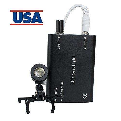 Denshine Portable Head Light Lamp for Dental Surgical Medical Binocular Loupe (Black)