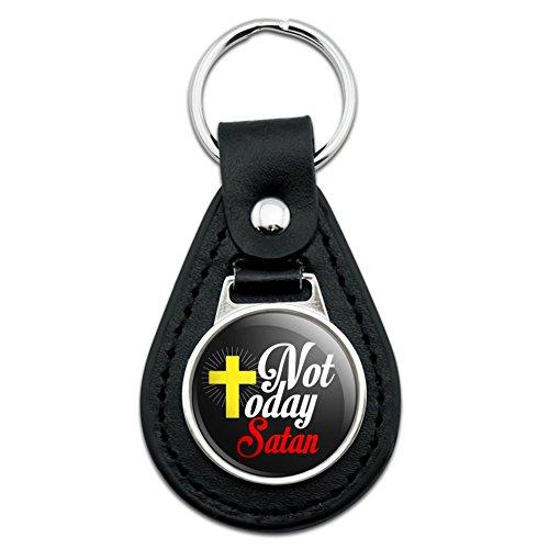 Not Today Satan Cross Christian Religious Black Leather Keychain ()