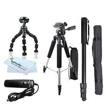 """Tripod Accessory Bundle Kit For Canon EOS Rebel T5i, T5, T4i,(650D) T3i, T2i, T3, EOS 60D, 70D DSLR Camera, SX60 HS Camera Includes 57"""" Tripod + 67"""" Monopod + 10"""" Flexible Tripod + Remote Shutter ++"""