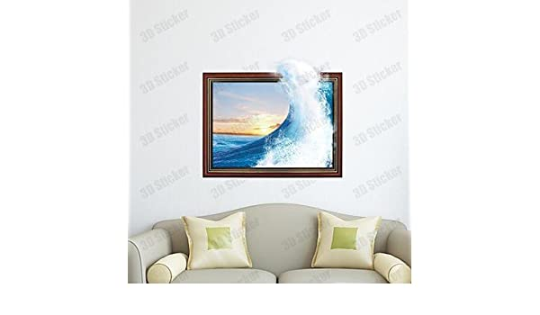 3d las olas del mar pared a pared vinilo decorativo pared Tatuajes ...