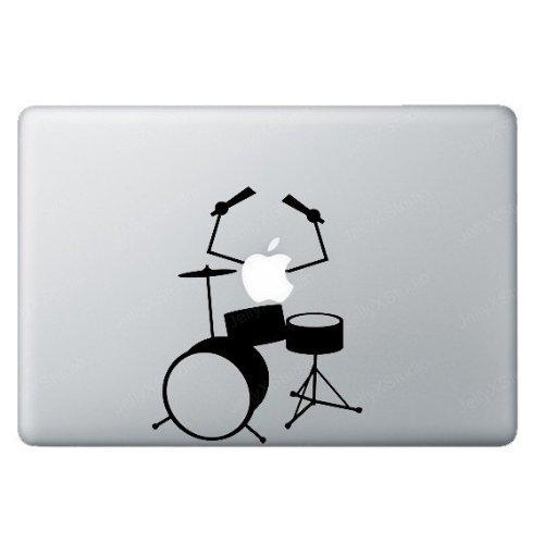 Apple Logo Playing Drums Music Macbook Ipad Decal Skin Stick