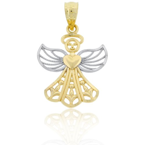 Charm America - Gold Two-tone Angel Charm - 10 Karat Solid Gold