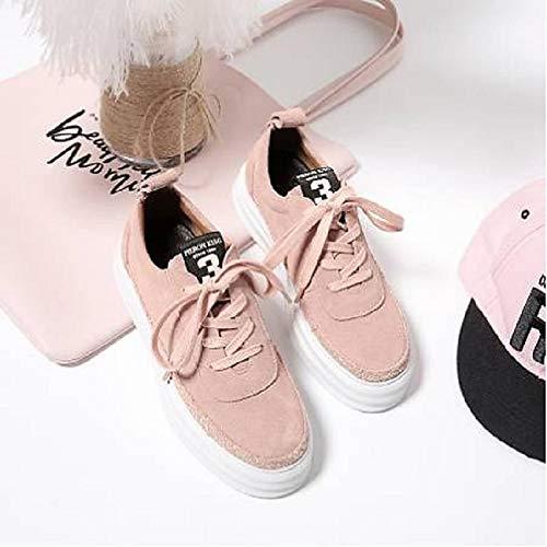 Black Zapatos de Suede Comfort ZHZNVX Mujer Winter Pink Heel Sneakers Black Flat PwdpFqqx
