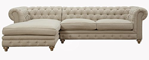 TOV Furniture The Oxford Collection Modern Fabric Upholstered Sectional Furniture Sofa Couch With Left Arm Chaise For Living Room, Beige