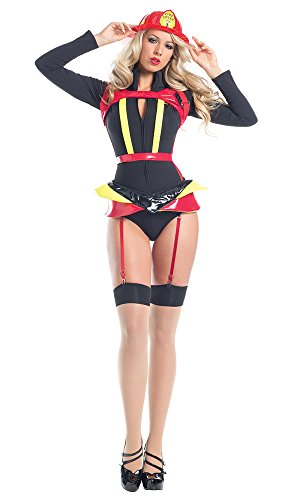Hearts Afire Costumes (Be Wicked Women's 4 Piece Hearts Afire, Black/Yellow, Small/Medium)