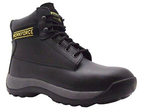 WorkForce Tamaño 9la Wf62-p vestir para hombre piel de color negro botas de seguridad