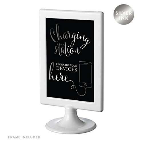 (Andaz Press Framed Wedding Party Signs, Metallic Silver Ink on Black, 4x6-inch, Charging Station Snap Chat, Instagram and Tweet Away, Recharge Your Phone Here Sign, 1-Pack)