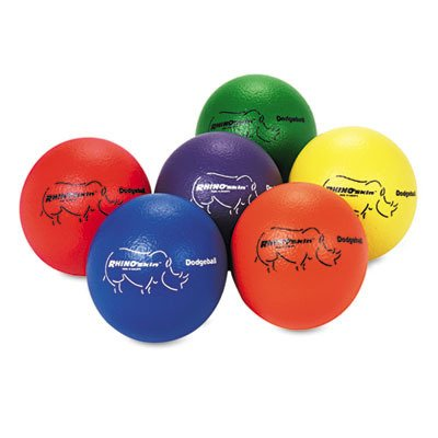 Made of Rhino Skin. - Champion Sport Dodge Ball Set, Rhino Skin, Assorted Colors, 6 Balls/Set by Champion