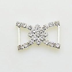 AngHui ShiPin 50pcs 23x17mm Double D-shaped Rhinestone Ribbon Buckle Slider for Wedding Invitation Letter Christmas Buckles