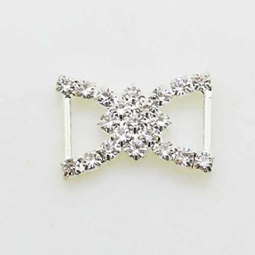 AngHui ShiPin 50pcs 23x17mm Double D-Shaped Rhinestone Ribbon Buckle Slider for Wedding Invitation Letter Christmas Buckles