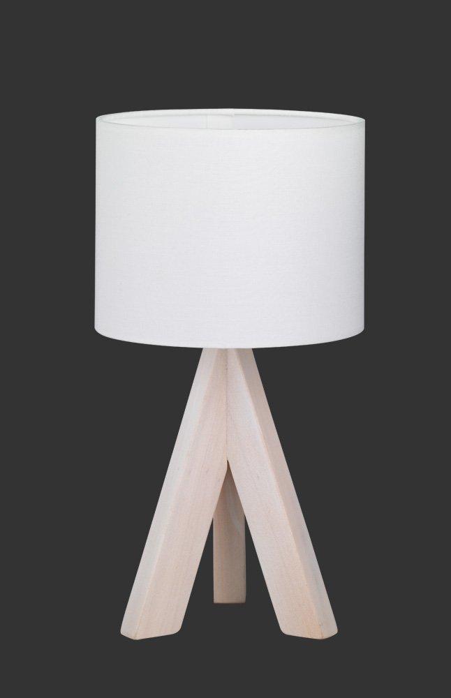 H/öhe 31 cm Reality Leuchten Tischleuchte grau R50741042 40 W Fuss dreibein Holz 1x E14 Stoffschirm