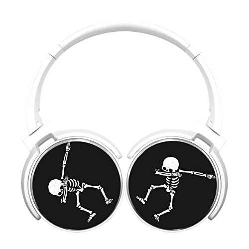 (MagicQ New Dabbing Skull Bluetooth Headphones,Hi-Fi Stereo Earphones White)