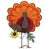 ATDAWN Metal Free Standing Turkey Decoration for Autumn Fall Thanksgiving Harvest Halloween Home Decor (Orange)