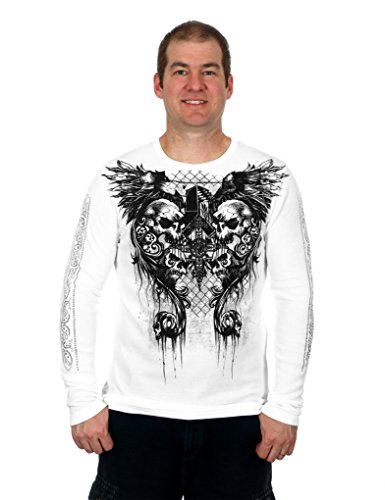 MMA Elite Long Sleeve Thermal Style Shirt (White, Small)