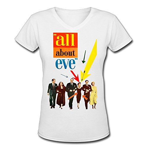 (Classic Women's ALL ABOUT EVE Movie Short Sleeve Slim Fit V-neck T-Shirt White US Size L)