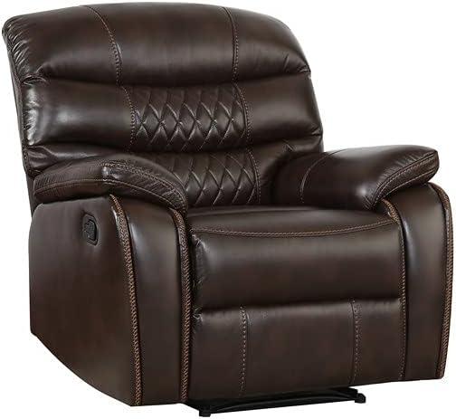 Blackjack Furniture Troy Modern Leather Air Living Room Reclining, Chocolate Brown