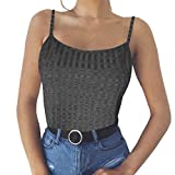 NUWFOR Fashion Womens Sexy Solid Tank Top Vest Off Shoulder Halter Blouse T-Shirt (Dark Gray,US XL Bust:36.2-38.6'')