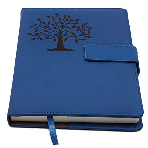 The Tree of Life Refillable Writing Journal | Faux Leather Cover, Magnetic Clasp + Pen Loop | Blank Notebook | 200 Lined Pages, 5 x 8 Inches for Travel, Personal, Poetry | Blue | The Amazing Office