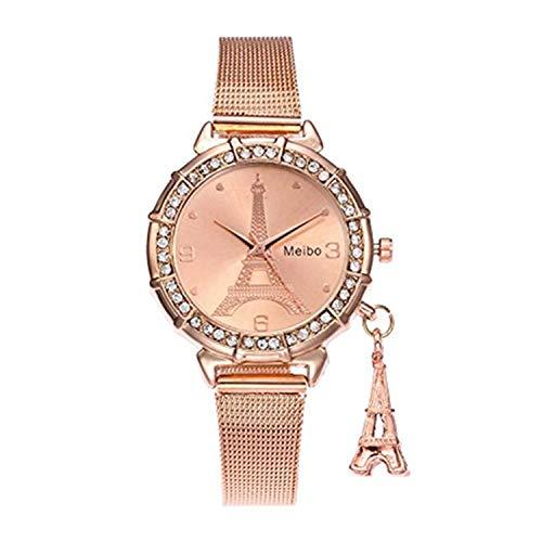 Han Shi Watches, Women Fashion Casual Business Eiffel Tower Quartz Wristwatch Round Clock (L, Rose Gold) (Clock Dollar)