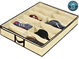 Ziz Home Under Bed Shoe Organizer for Kids and Adults (12 Pairs) - Underbed Shoes Closet Storage Solution - Made of Sturdy & Breathable Materials with Front Zippered Closure - Easy to Assemble