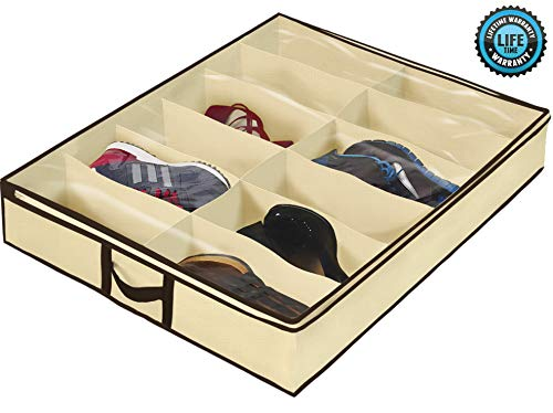 Ziz Home Under Bed Shoe Organizer for Kids and Adults (12 Pairs) - Underbed Shoes Closet Storage Solution - Made of Breathable Materials with Front Zippered Closure - Easy to Assemble