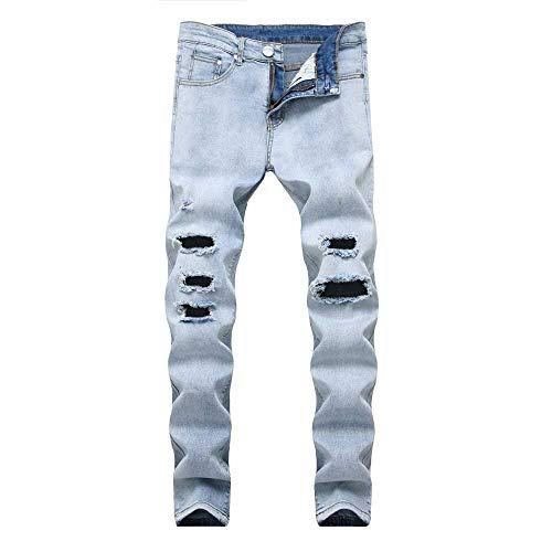 Swoofer Pantaloni Uomo Da lannister Combattimento Blau Plissettati Hole Destrutturati Strappati Skinny Ragazzo Jeans Elasticizzati Qk 8qUZpxPwx