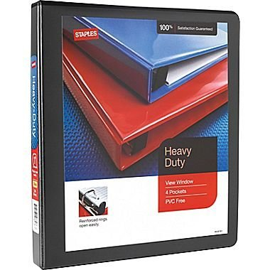 1'' Staples Heavy-Duty View Binder with D-Rings, Black by Staples
