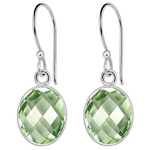 Orchid Jewelry 925 Sterling Silver Womens Green Amethyst Earrings