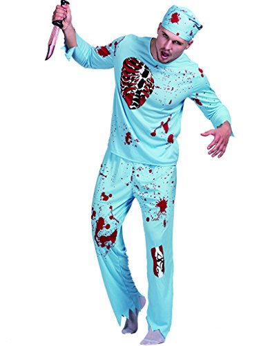 EraSpooky Zombie Bloody Doctor Halloween Costume(As Picture, (Doctor Zombie Costumes)