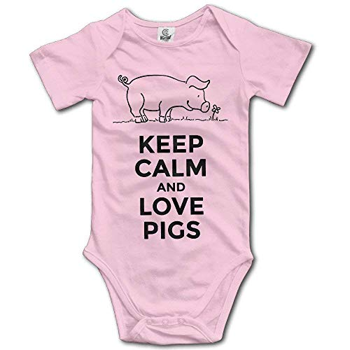 TCJX Newborn Babys Boy's & Girl's Keep Calm and Love Pigs Short Sleeve Baby Climbing Clothes for 0-24 Months Pink